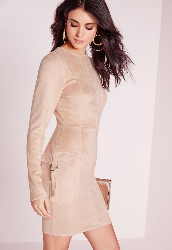 Faux Suede Pocket Detail Bodycon Dress Nude