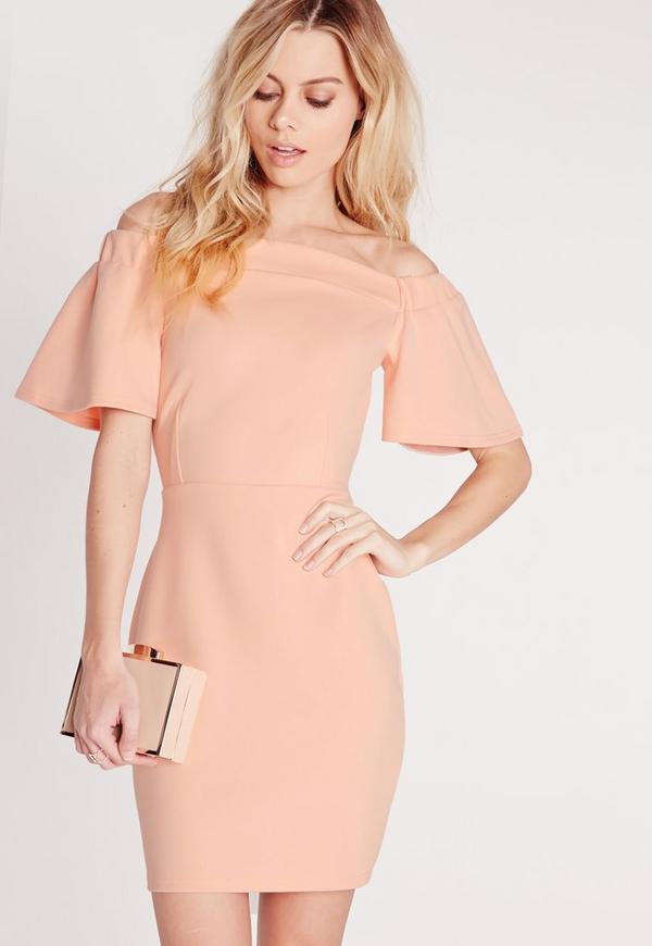 Frill Sleeve Bardot Bodycon Dress Nude