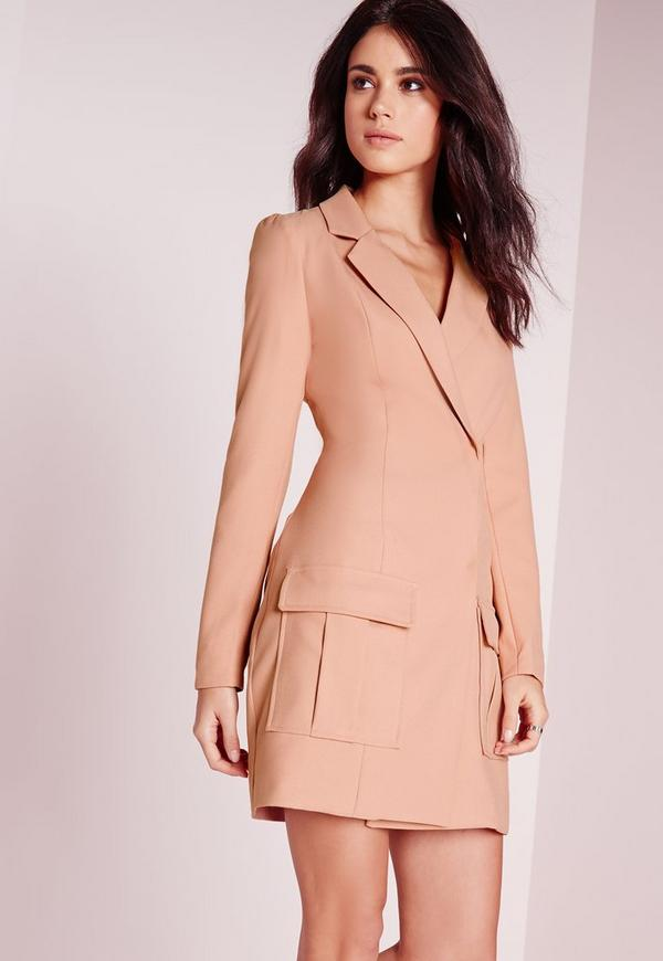 Pocket Detail Blazer Dress Dusky Pink