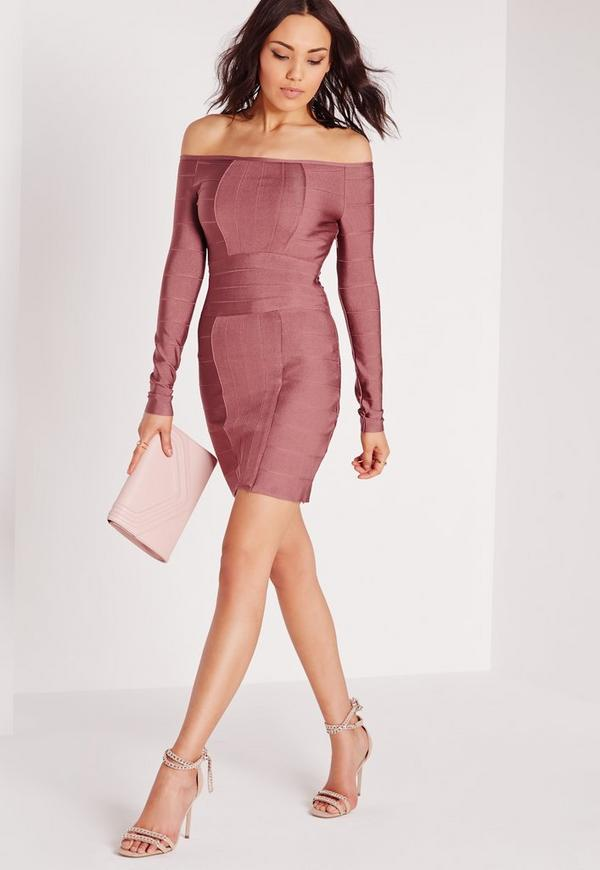 Premium Bardot Bandage Bodycon Dress Purple