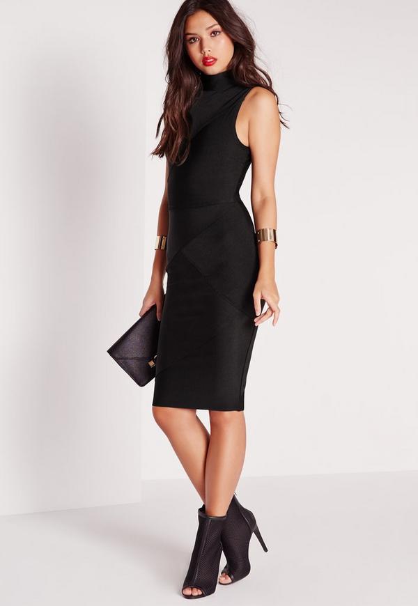 Premium Bandage High Neck Midi Dress Black