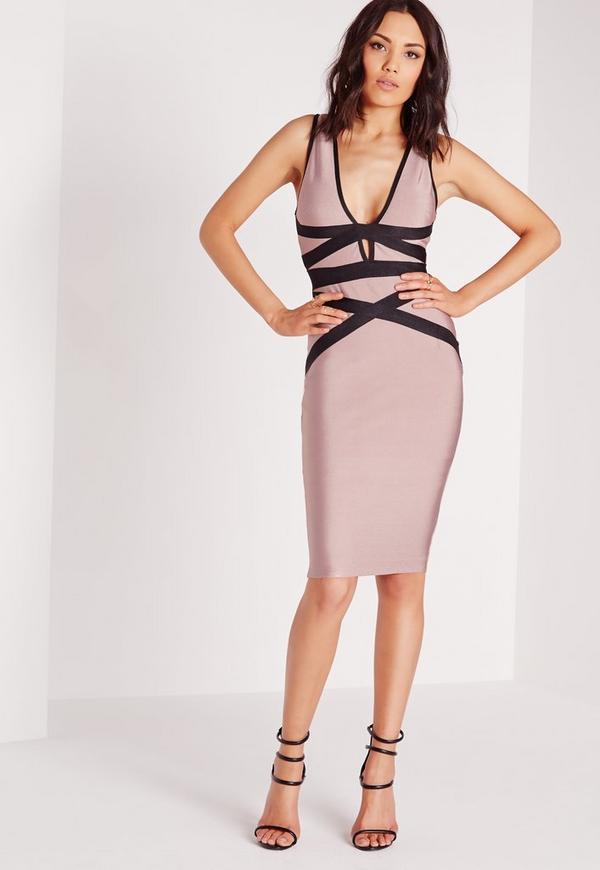 Premium Contrast Bandage Bodycon Dress Mauve