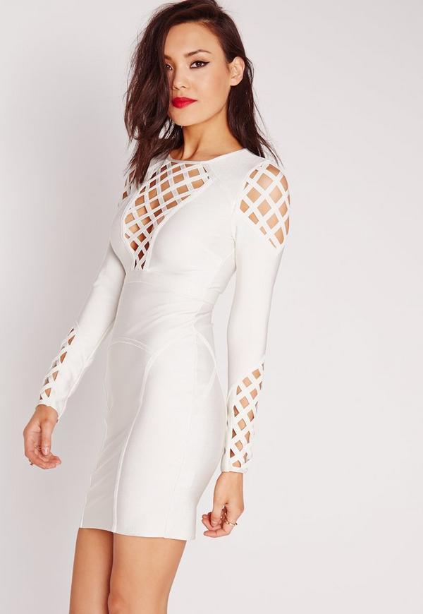 Premium Bandage Cut Out Detail Bodycon Dress White