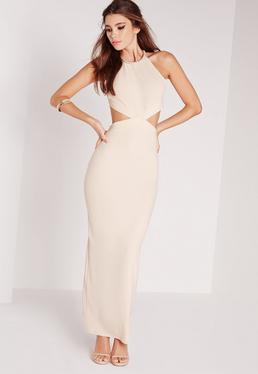 Embellished Neck Cut Out Maxi Dress Nude