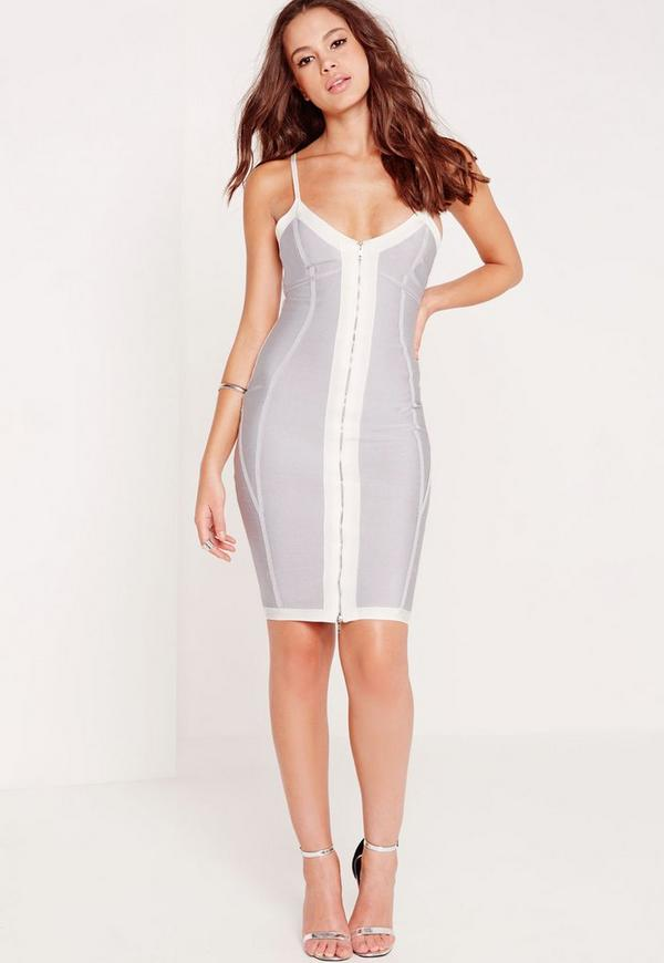 Premium Zip Front Strappy Bandage Midi Dress Grey