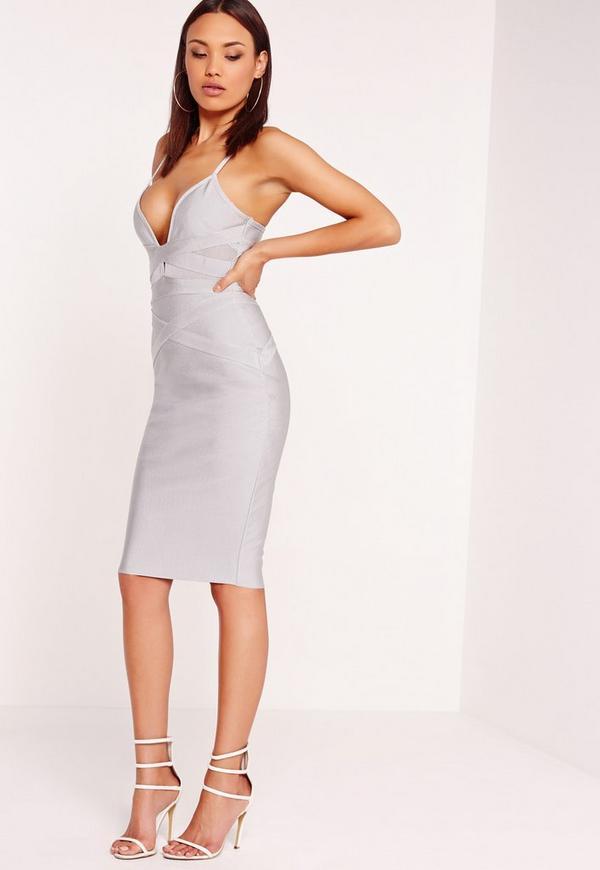 Premium bandage strappy mesh insert midi dress grey