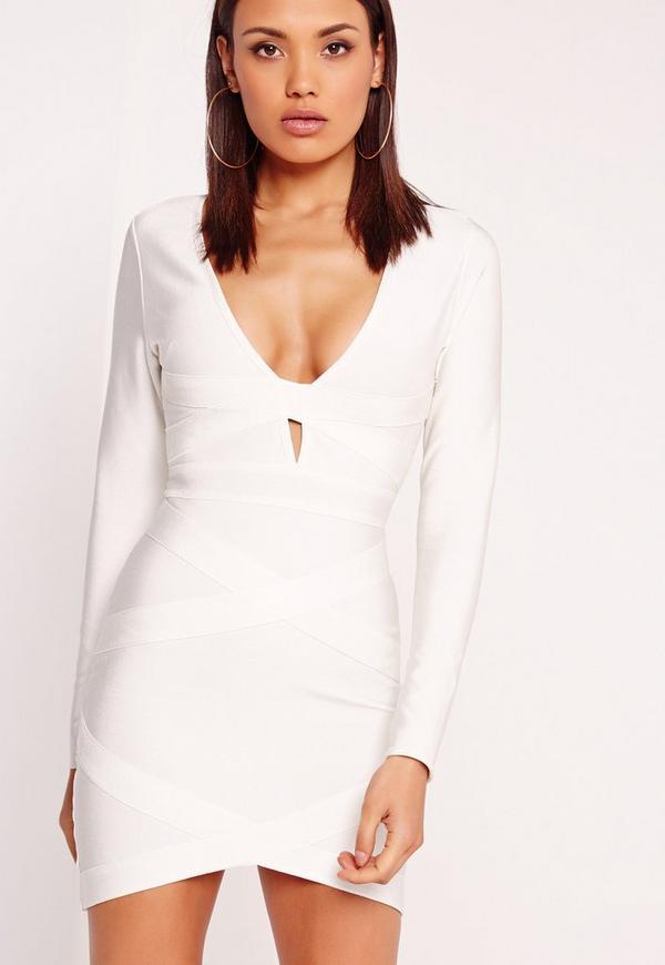 Premium Long Sleeve Bandage Bodycon Dress White