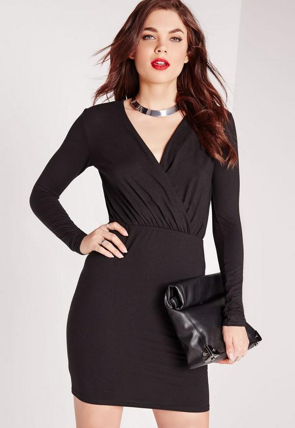 Plunge Wrap Over Bodycon Dress Black