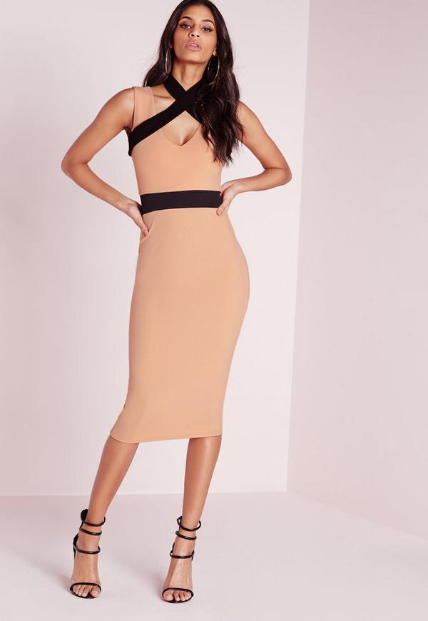 Contrast Strap Detail Midi Dress Nude/Black
