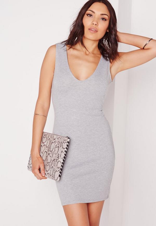 Sleeveless Bodycon Dress Grey Marl