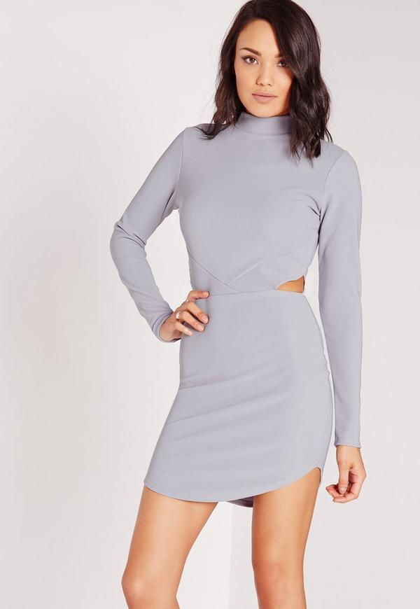 High Neck Cut Out Waist Bodycon Dress Grey