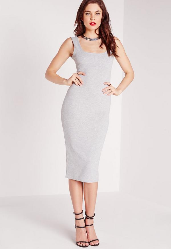 Round Neck Midi Dress Grey Marl