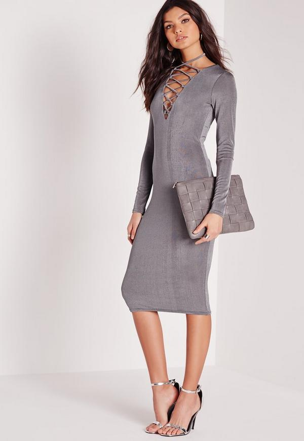 Lace Up Midi Dress Grey