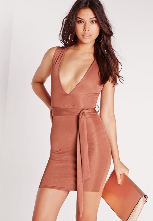 Plunge Tie Waist Bodycon Dress Pink