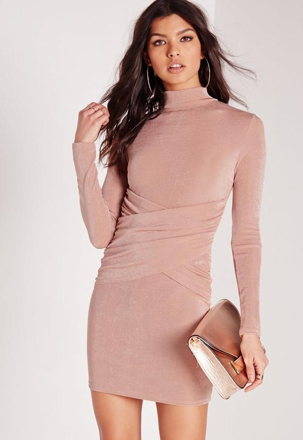 Slinky High Neck Wrap Over Bodycon Dress Rose Pink