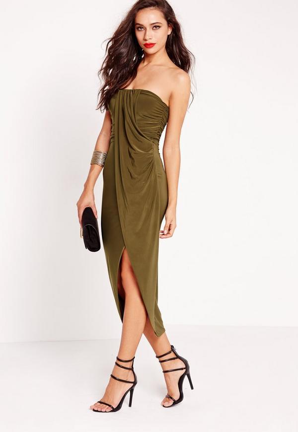 Strapless Ruched Midi Dress Khaki