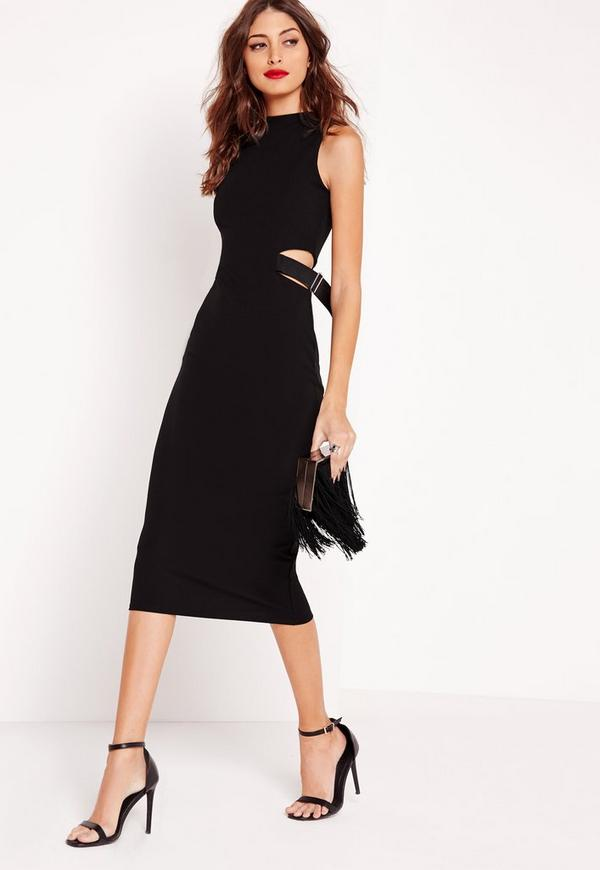 Buckle Side Midi Dress Black