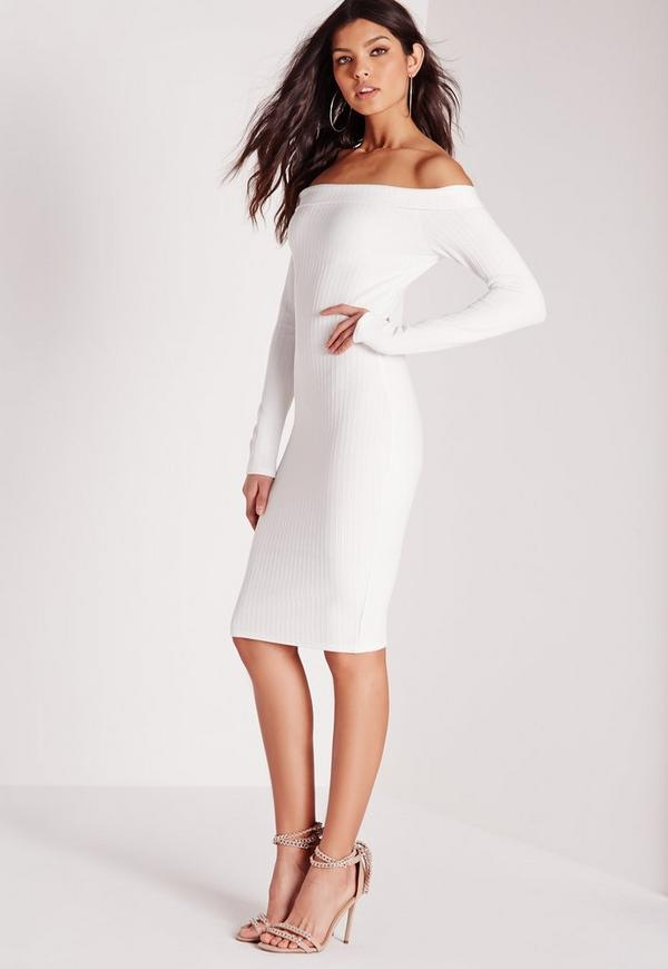 Textured Bardot Midi Dress White