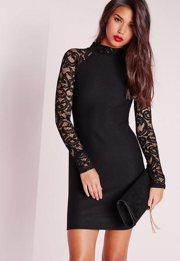 Lace Long Sleeve Bodycon Dress Black Missguided