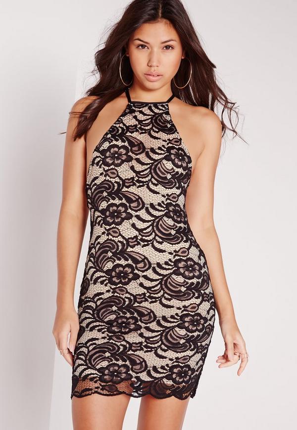 Square Neck Lace Bodycon Dress Black