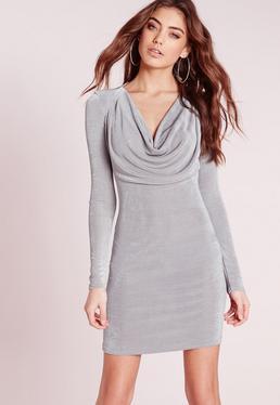 Slinky Cowl Front Bodycon Dress Grey