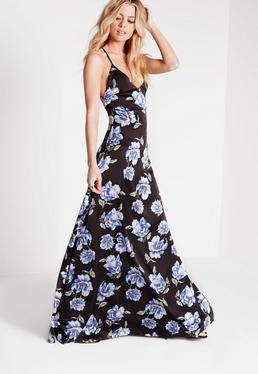Cross Back Floral Maxi Dress Black