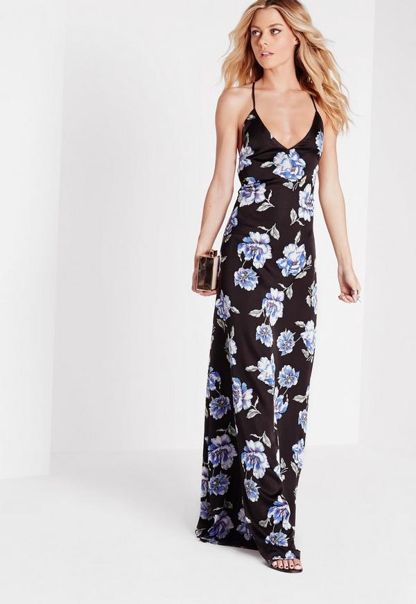 cross back floral maxi dress black missguided
