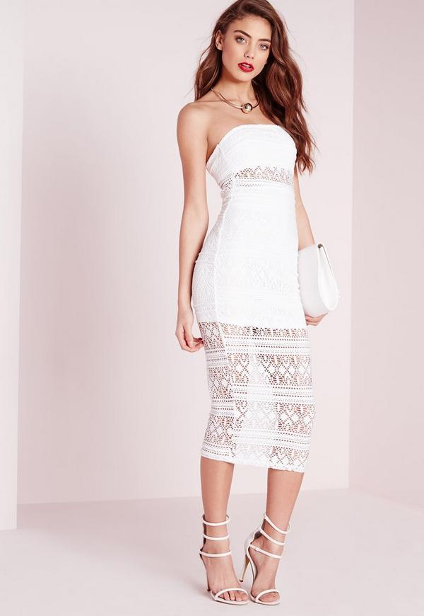 Crochet Lace Bandeau Midi Dress White