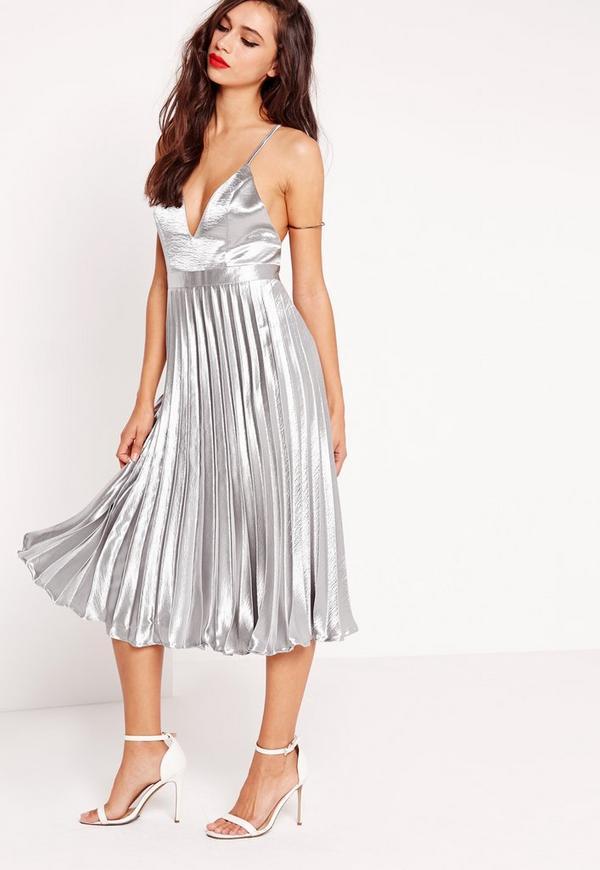 Cross Back Pleated Midi Dress Silver