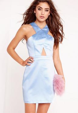 Racer Neck Cross Front Mini Dress Blue