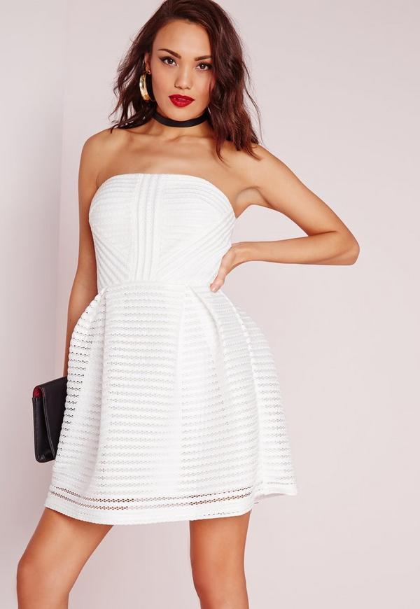 Crochet Lace Bandeau Prom Dress White