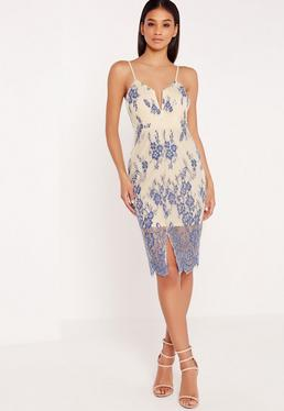 Centre Split Cami Floral Dress White/Blue