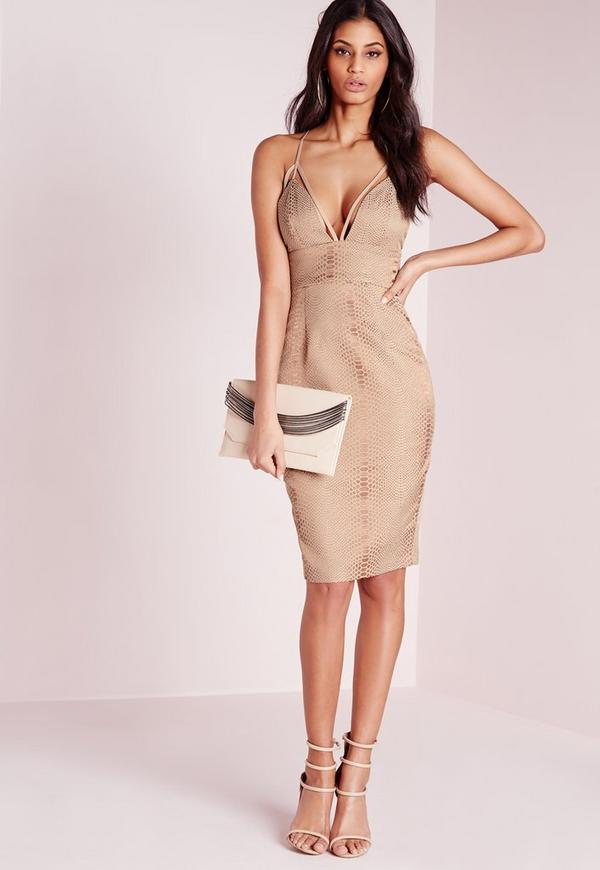Harness Strap Bodycon Snake Jacquard Dress Taupe