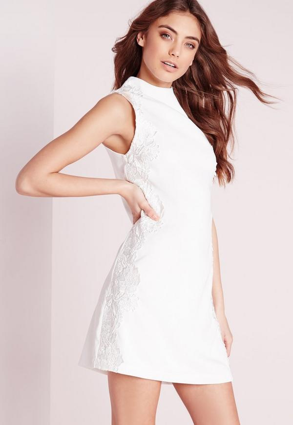 High Neck Lace Detail Shift Dress White