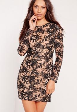 Floral Lace Bodycon Dress Black