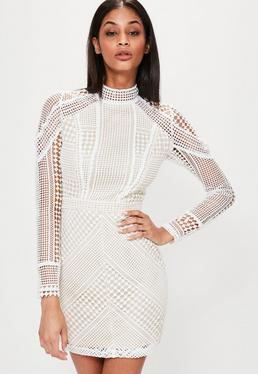 Structured High Neck Premium Lace Mini Dress White