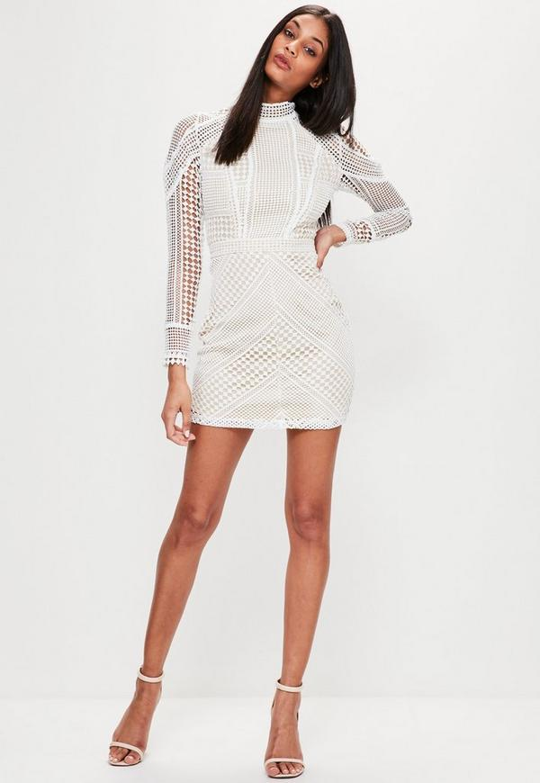 Premium White Structured High Neck Lace Mini Dress | Missguided