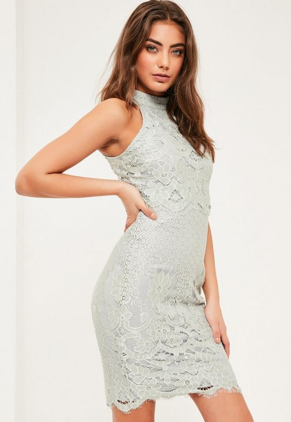floral double layer bodycon dress grey
