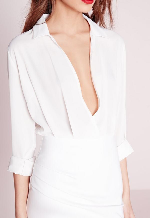 Long Sleeve Sheer Shirt Dress Cream | Missguided