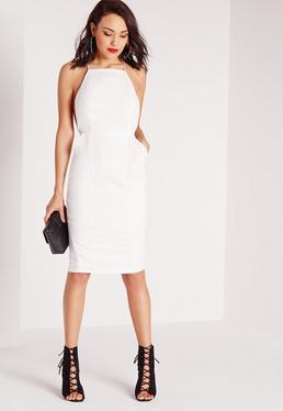Square Neck Spaghetti Strap Midi Dress White