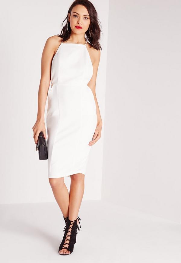 Square Neck Spaghetti Strap Midi Dress White Missguided
