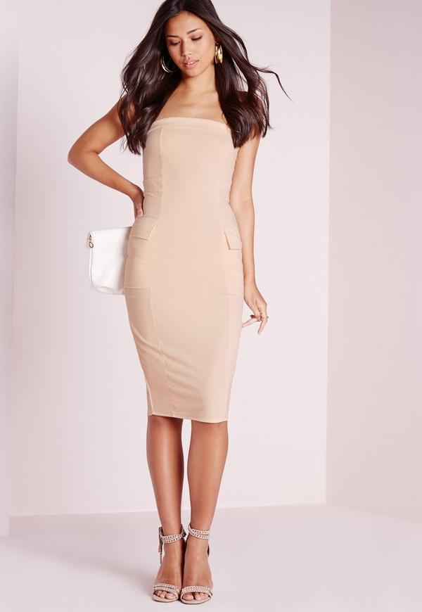 Pocket Detail Bandeau Midi Dress Nude