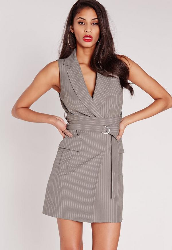 Pin Stripe Wrap Belt Blazer Dress Grey
