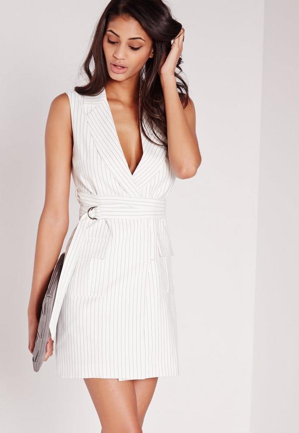 Pin Stripe Wrap Belt Blazer Dress White