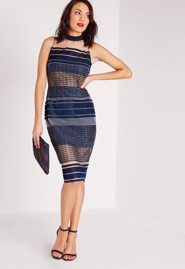 Mesh Embroidered Stripe Midi Dress Blue
