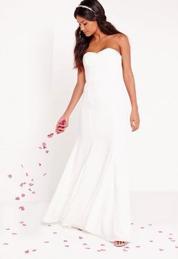Ślubna biała bandażowa sukienka maxi