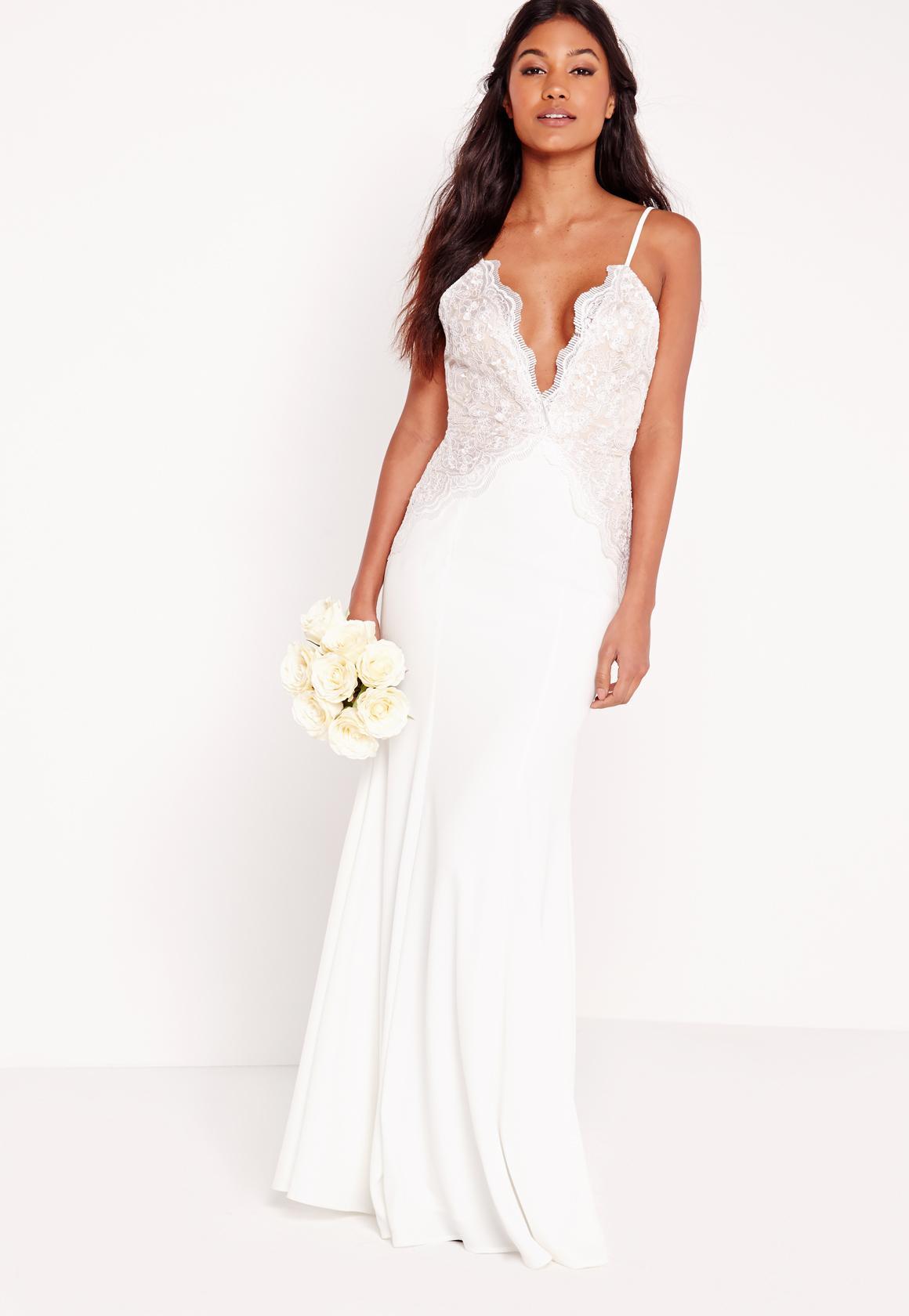 Bridal Scallop Lace Cami Maxi Dress White