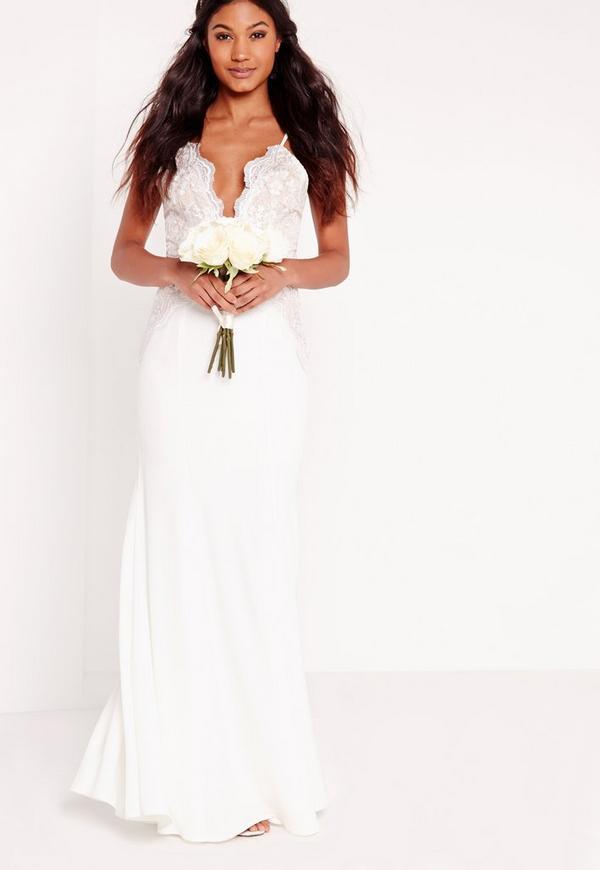Bridal Scallop Lace Cami Maxi Dress White Missguided