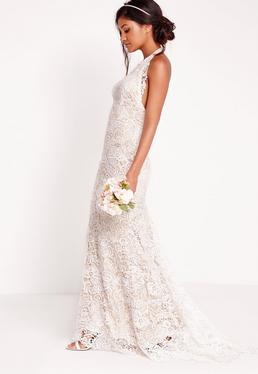 Bridal Halter Neck Lace Maxi Dress White