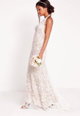 Robe de mariée dos nu en dentelle blanche